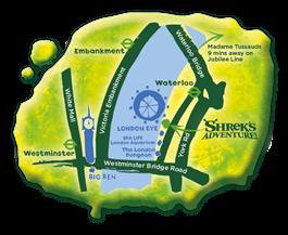 shrek's adventure london map - one epic road trip